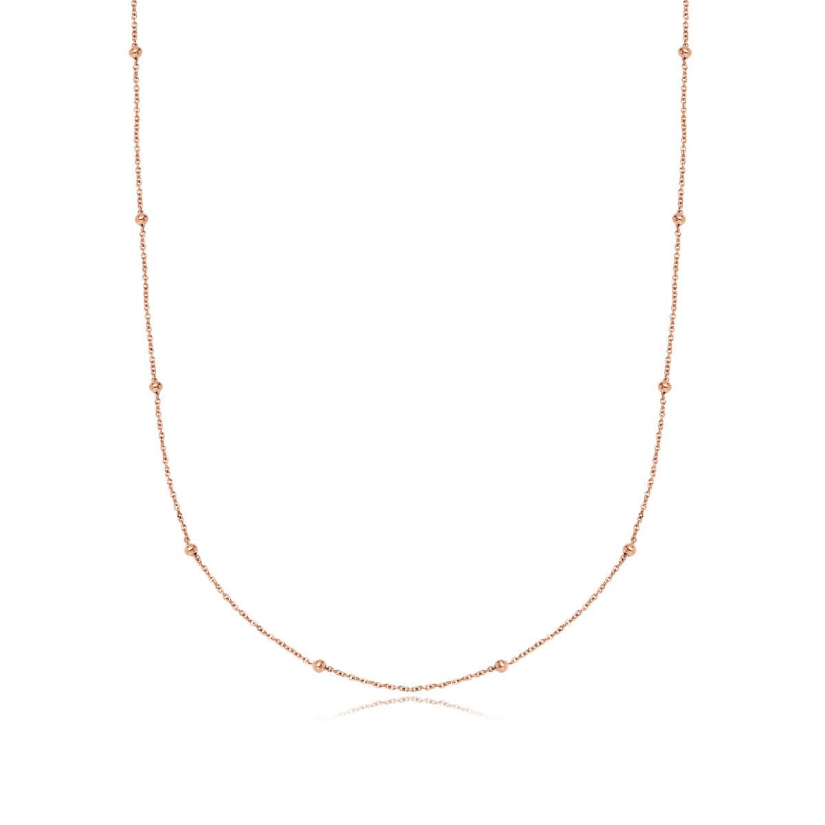 Selected Sphere Chain Necklace 20 in (Rose Gold)
