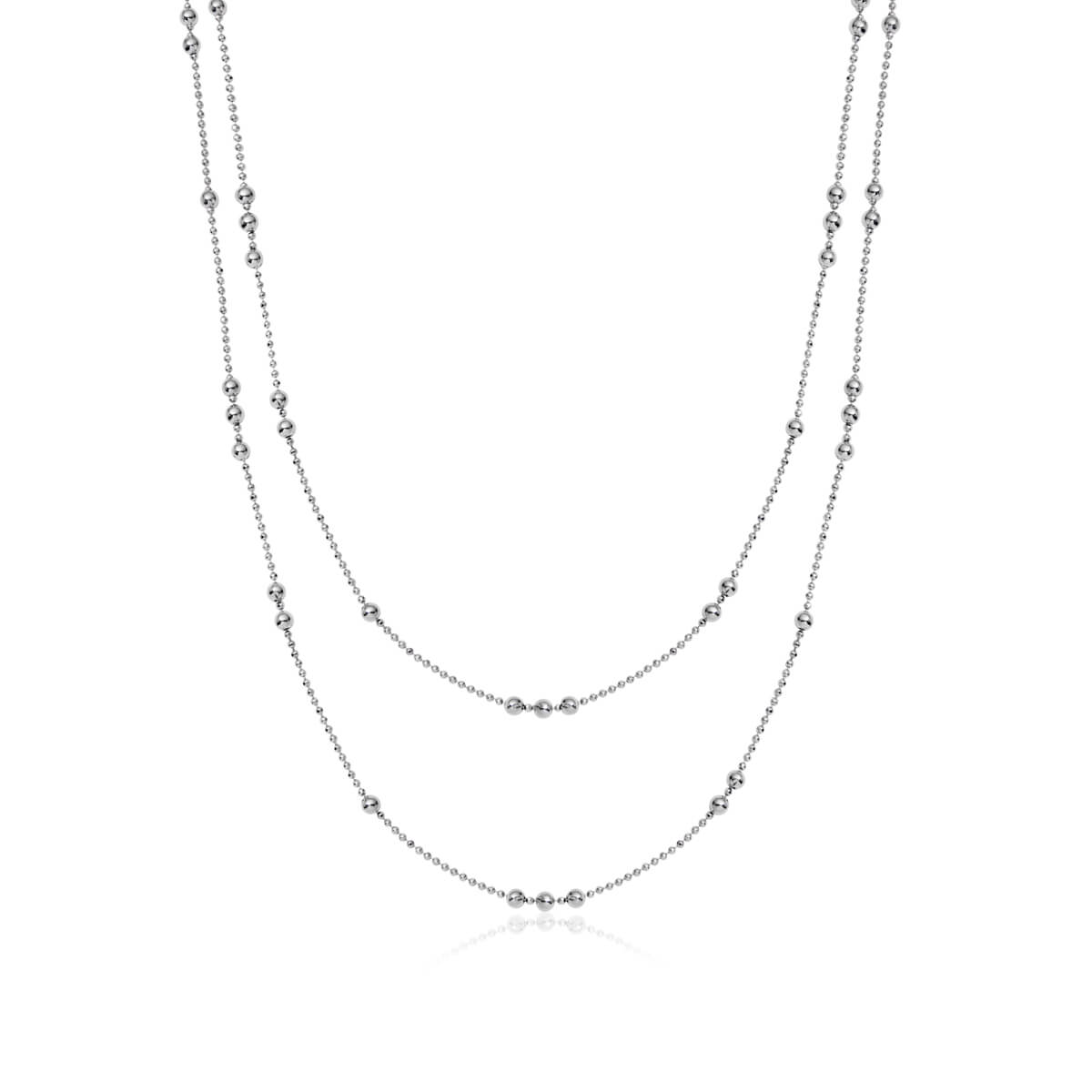Double Sphere Chain Necklace (Silver)