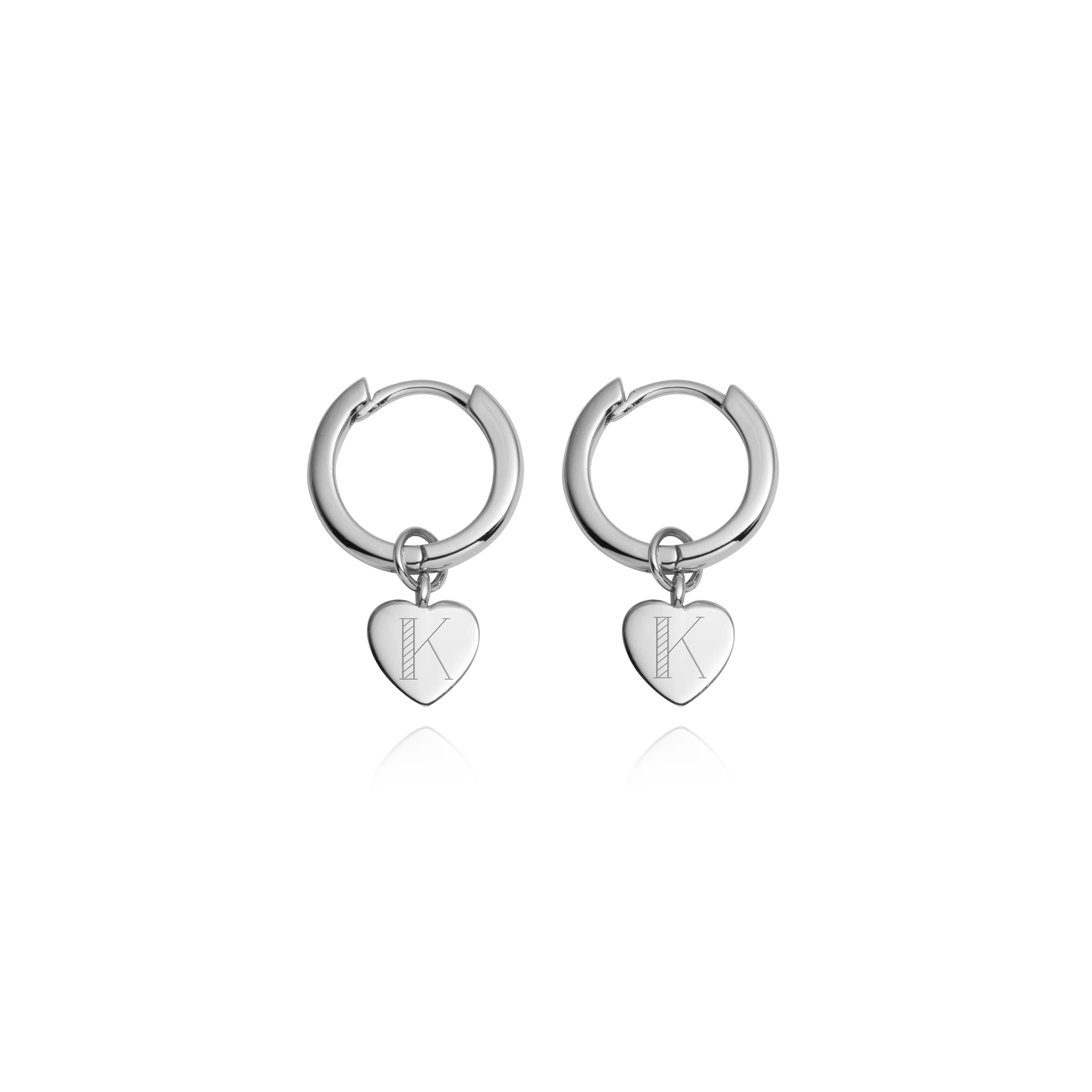 Sterling Silver Heart Pendant Earrings (Silver)