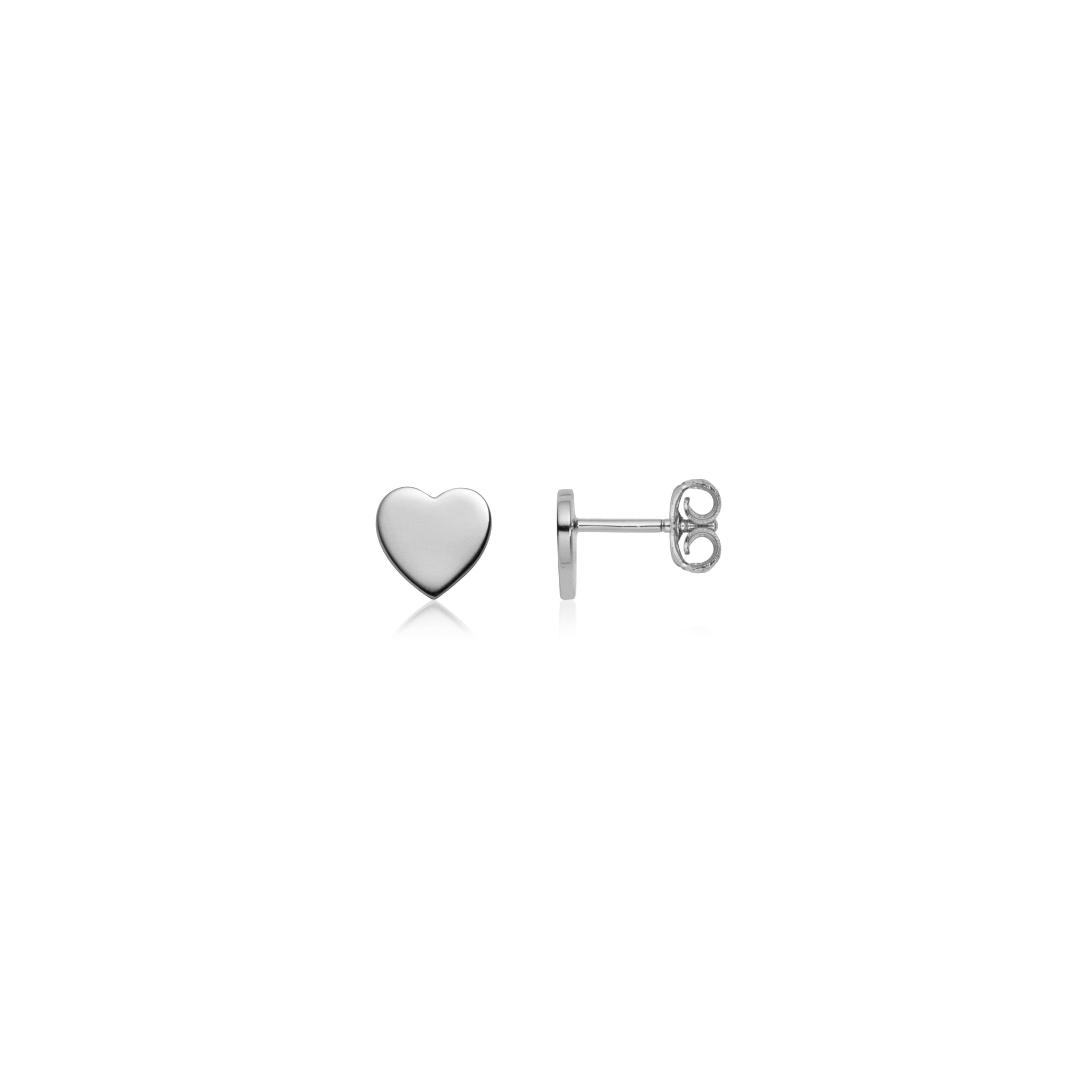 Sterling Silver Heart Stud Earrings (Silver)