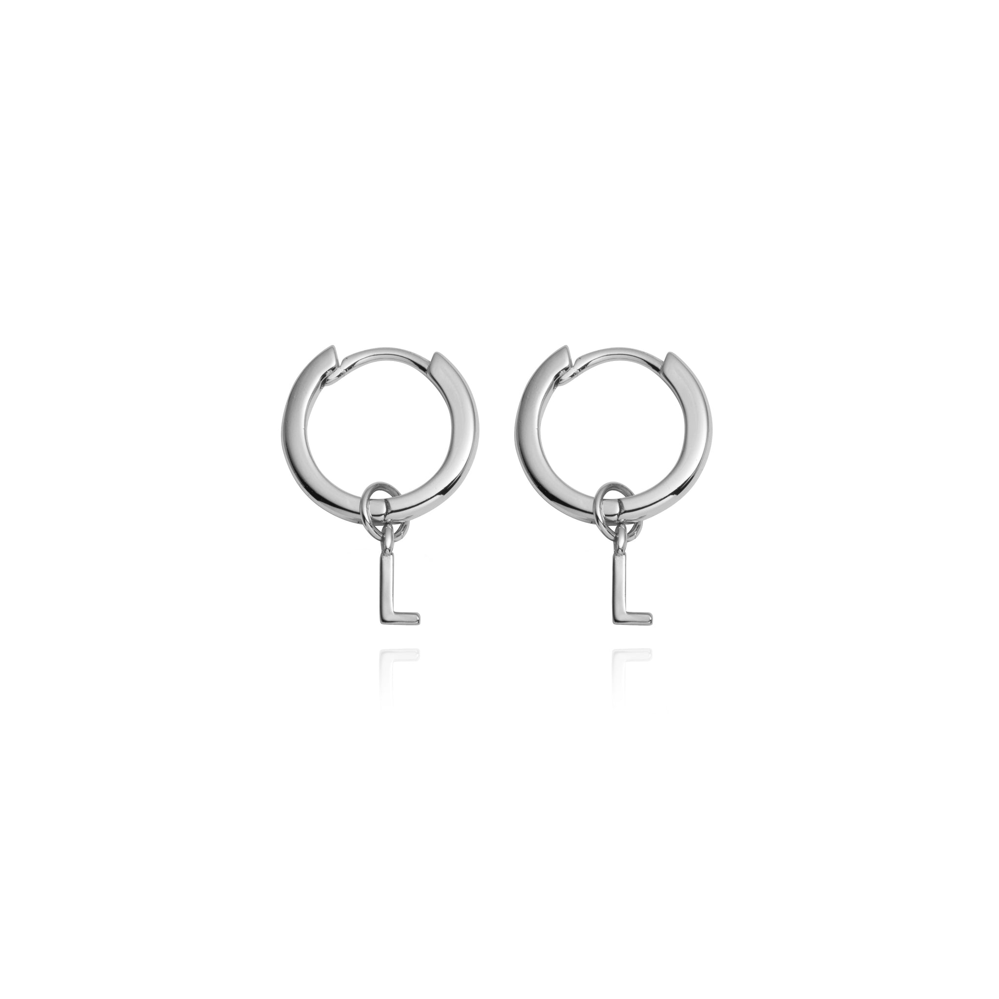 Sterling Silver Letter Pendant Earrings (Silver)