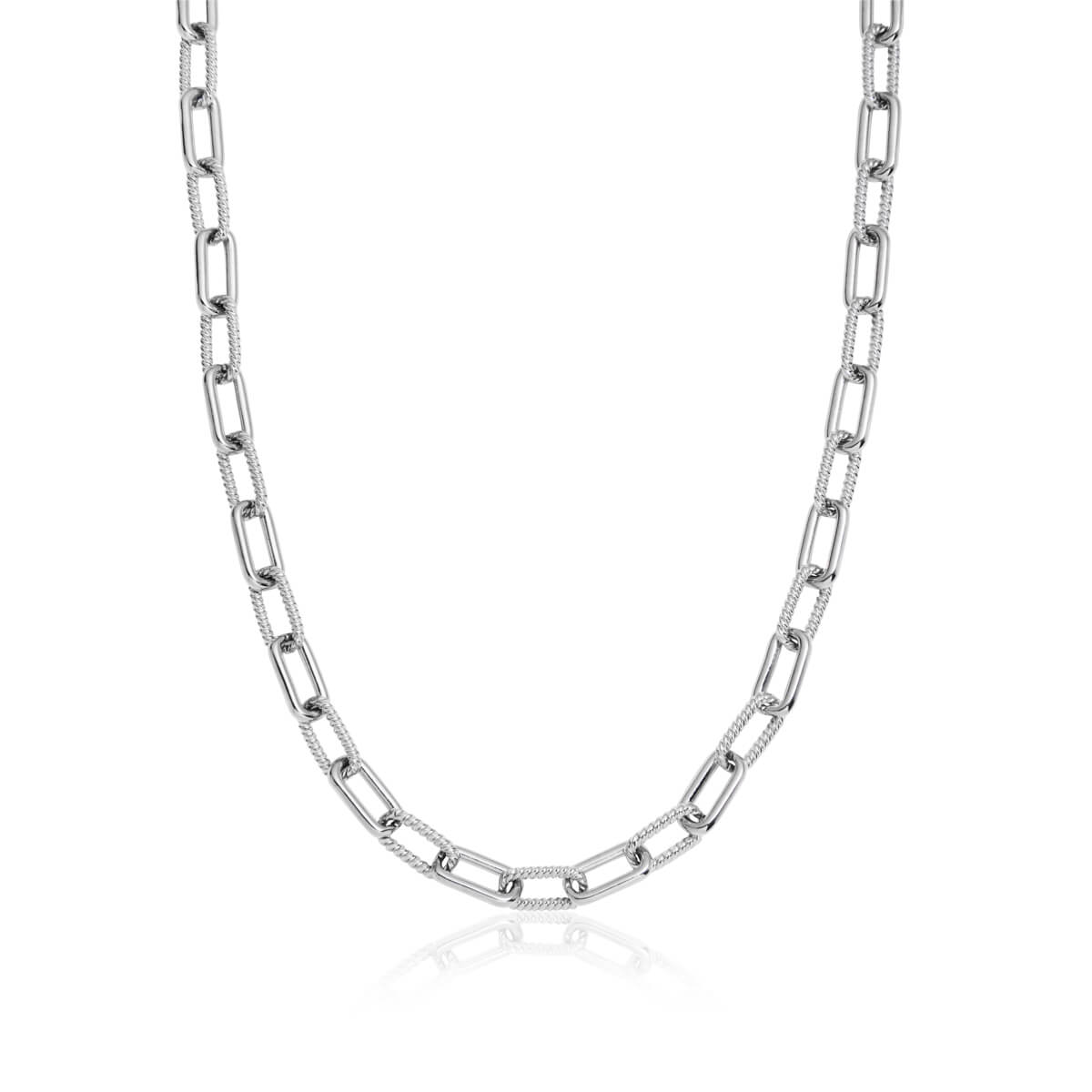 Square Link Chain Necklace (Silver)