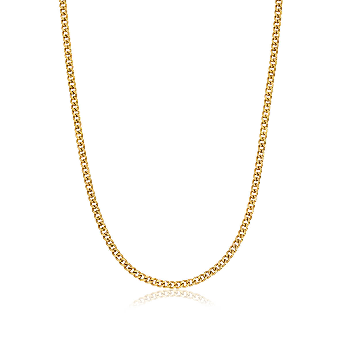 Small Curb Chain Necklace (Gold)