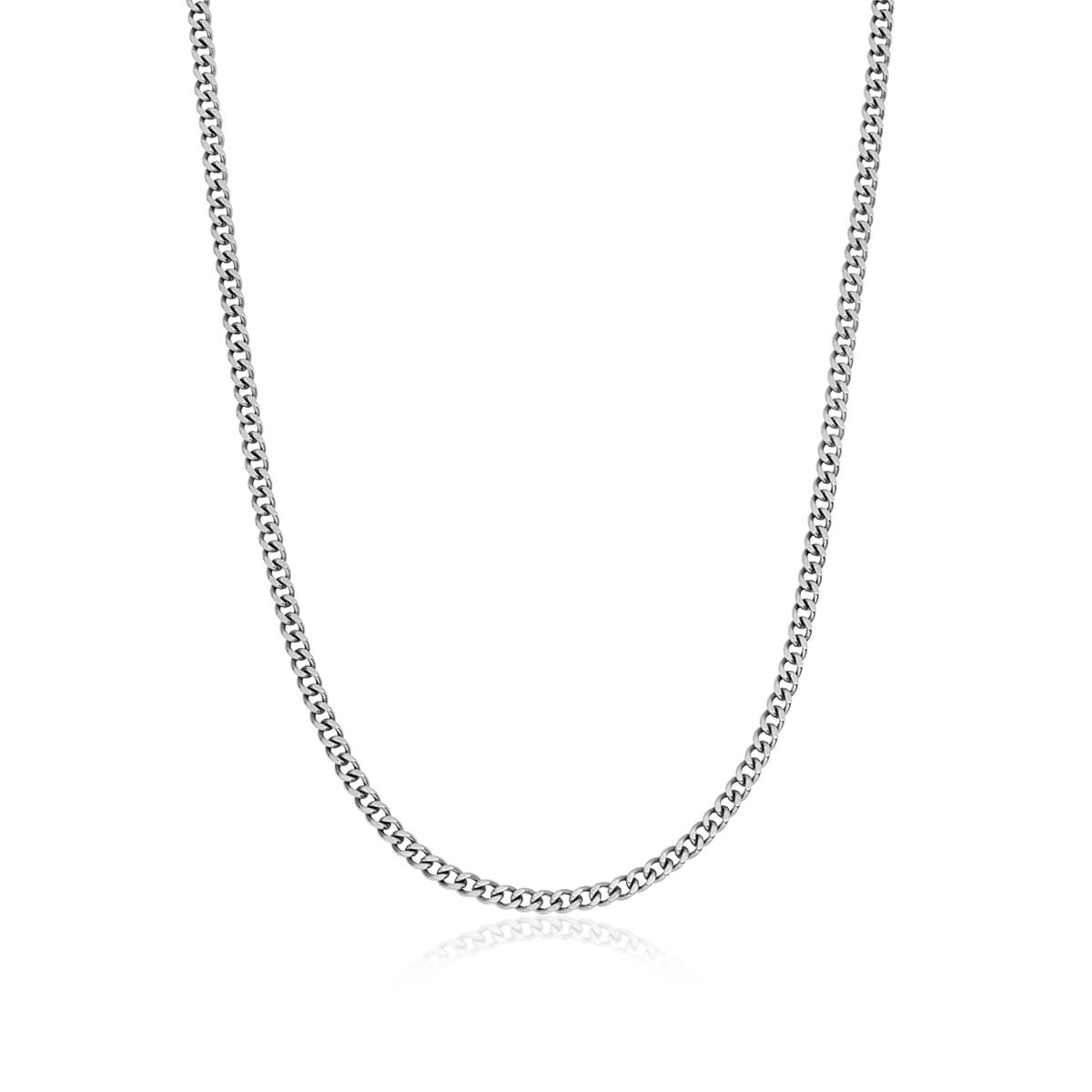 Small Curb Chain Necklace (Silver)