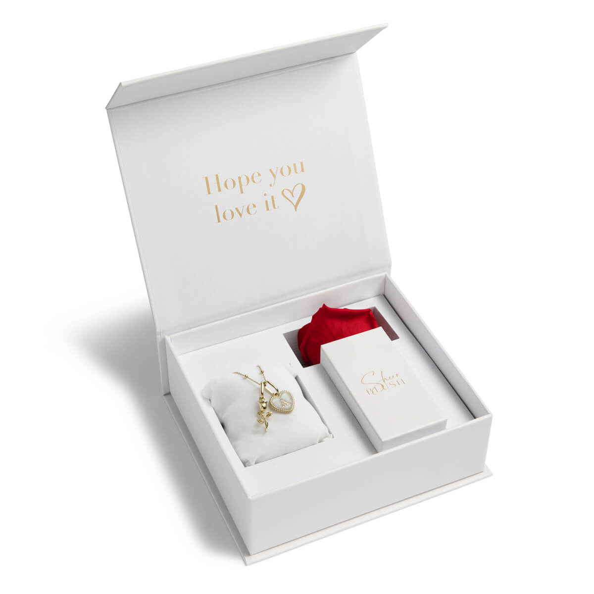 Rose & Pearl Heart Eternal Rose Gift Set (Champagne)