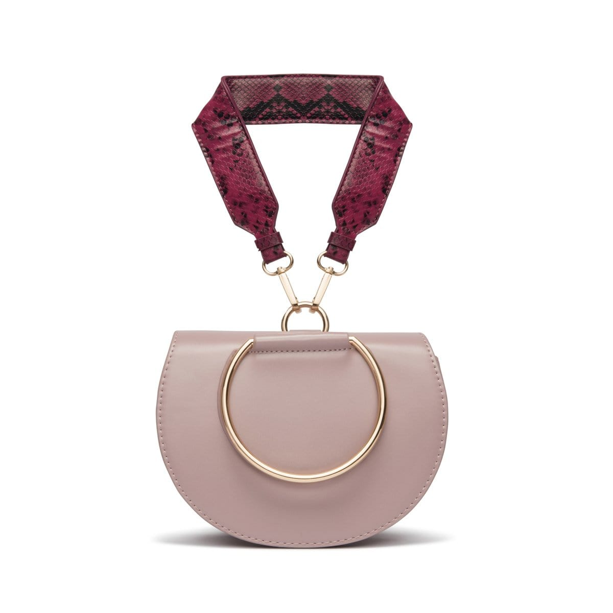Eva Saddle Bag (Mauve Pink Snakeskin/Yellow Gold)