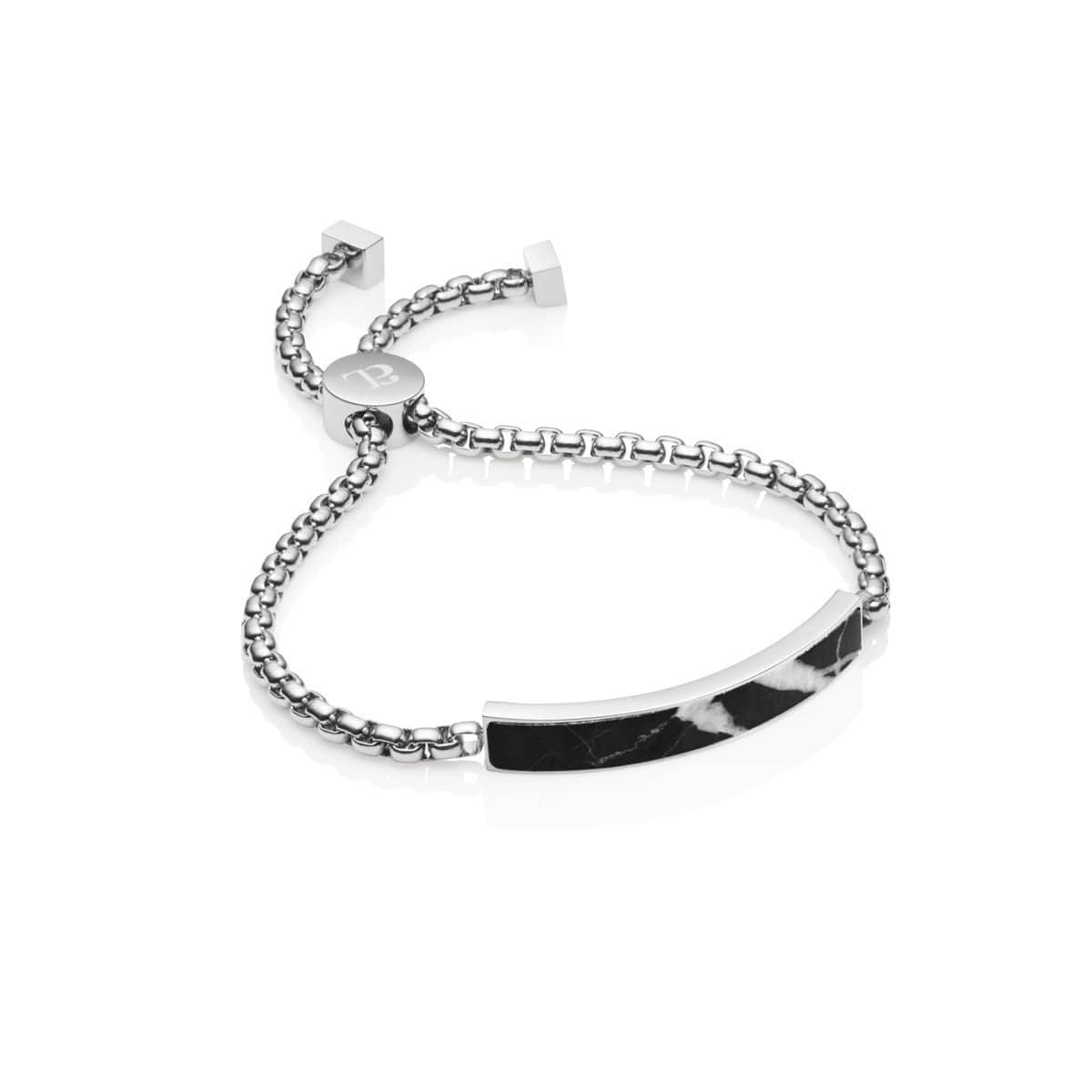 Marble Luxe Chain Bracelet (Silver/Black)