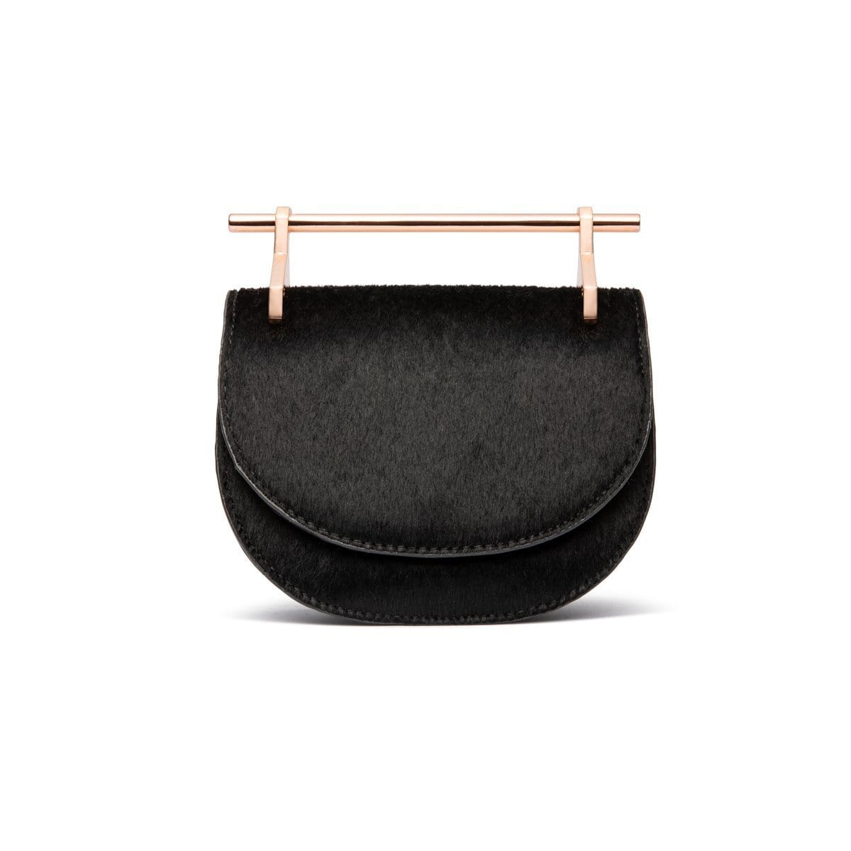 Ava Half Moon Clutch Bag (Jet Black/Rose Gold)