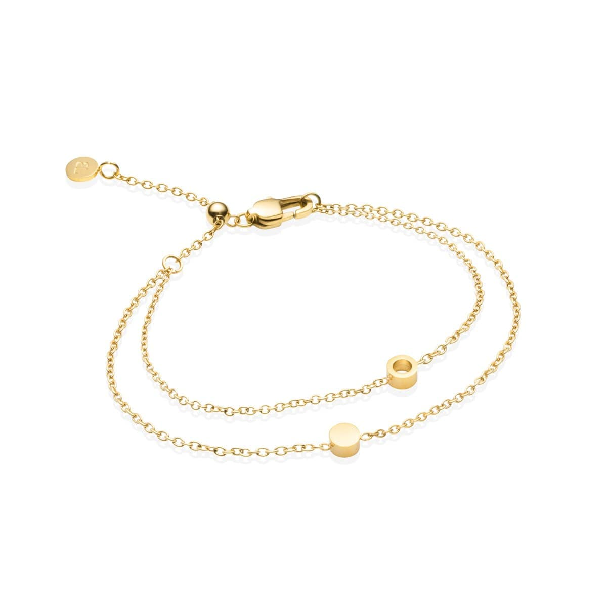 Little Luxe Double Disc Bracelet (Yellow Gold)