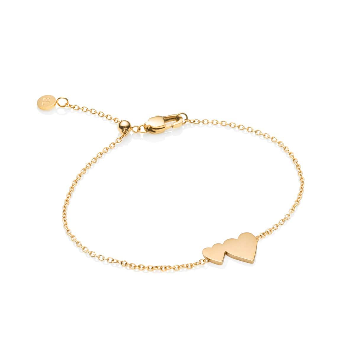 Little Luxe Double Heart Bracelet (Yellow Gold)