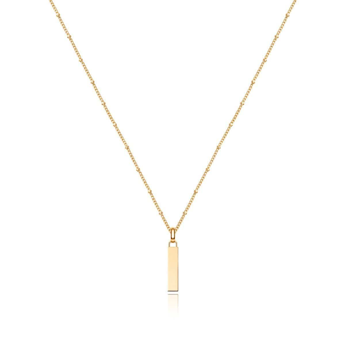 Small Lineare Charm Necklace (Yellow Gold)