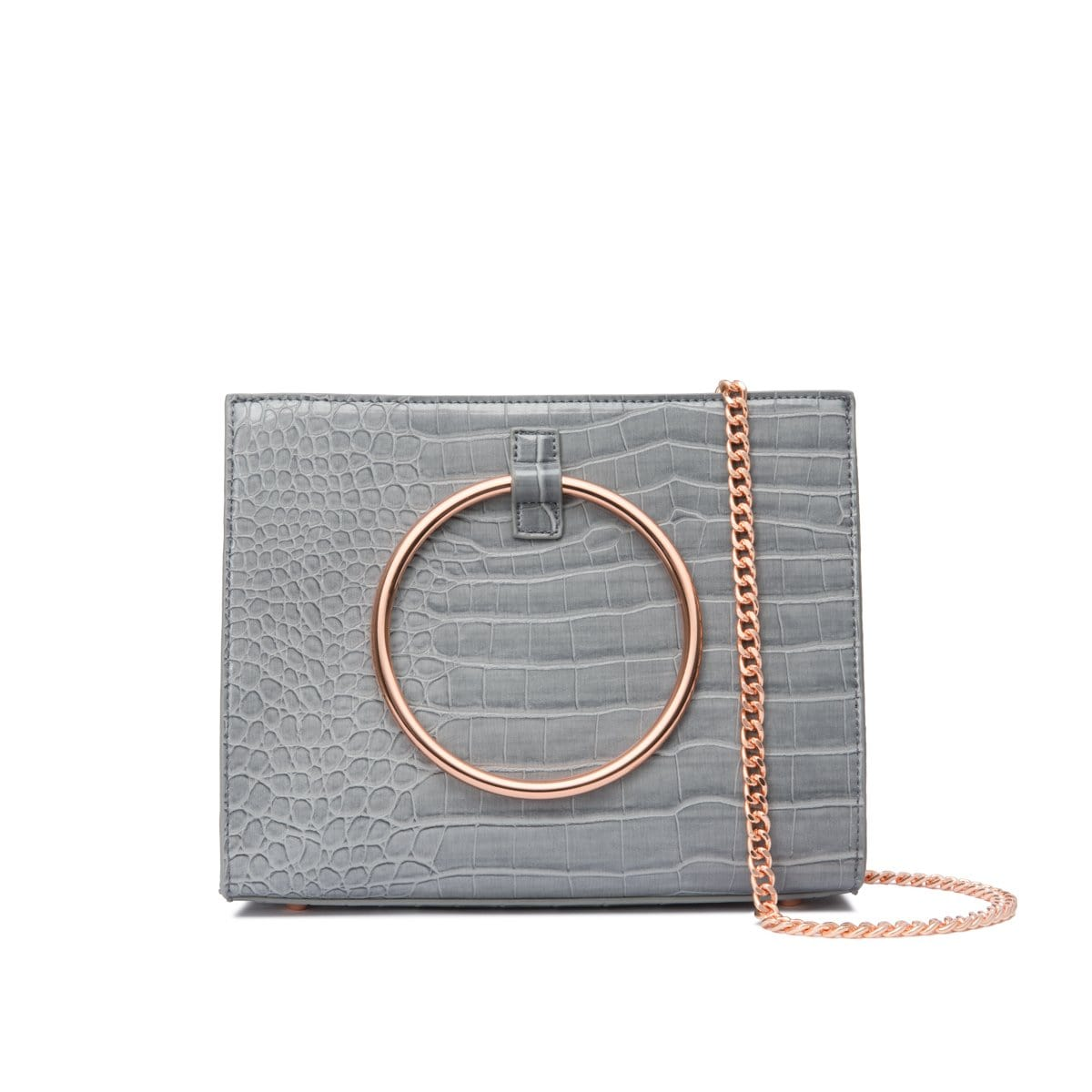 Moda Croc Top Handle Bag (Dusk Grey/Rose Gold)