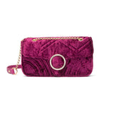 Gigi Velvet Shoulder Bag (Raspberry Pink/Yellow Gold)