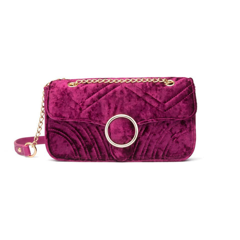Gigi Velvet Shoulder Bag (Raspberry Pink/Gold)