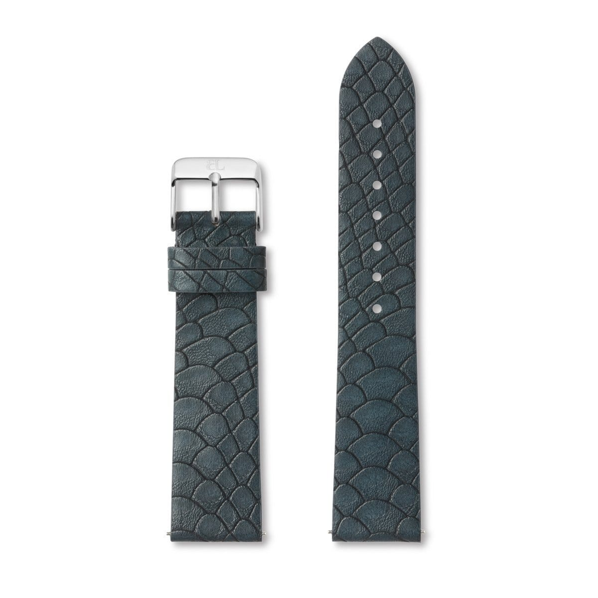 Oxford Blue Gator Leather 40 Strap Silver