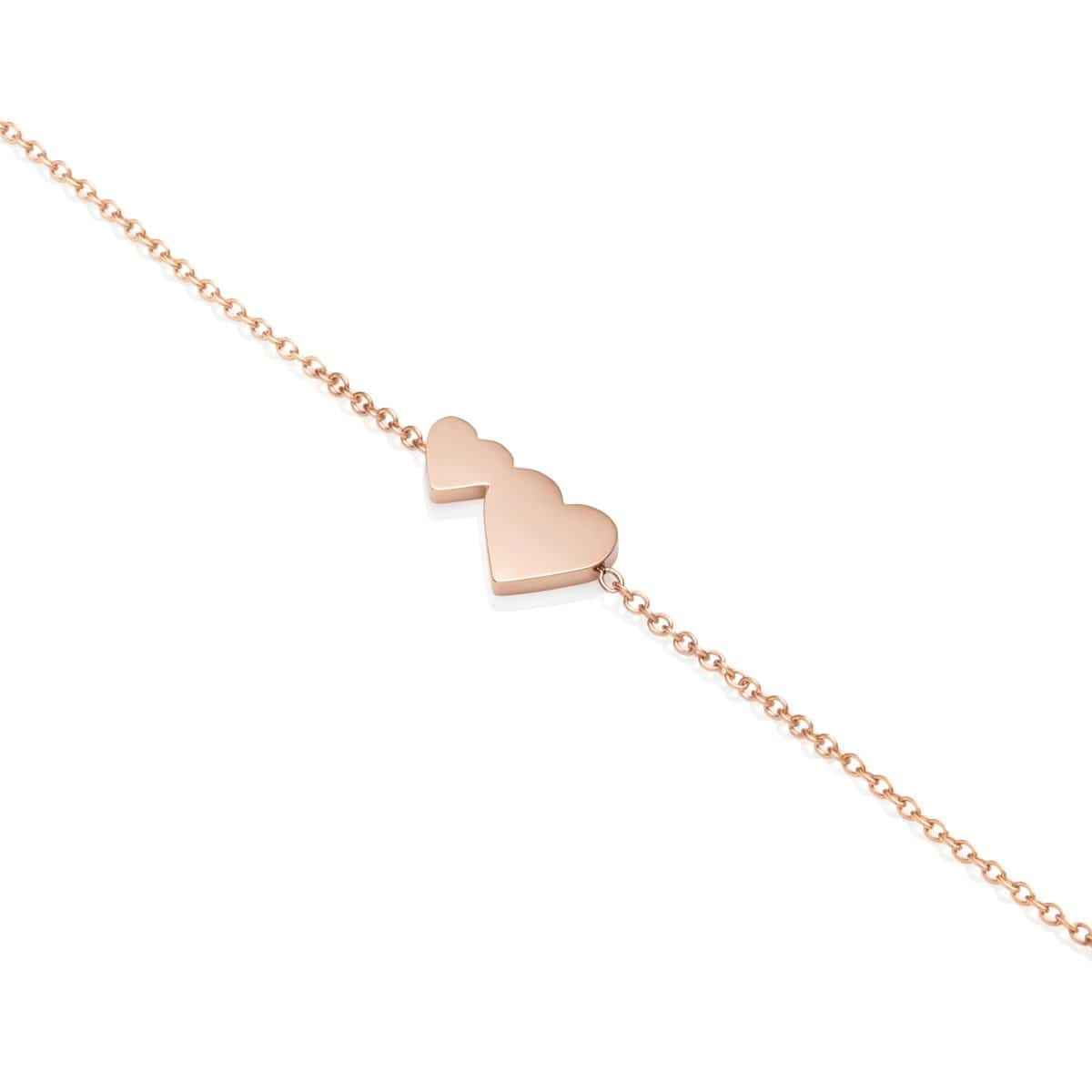 Little Luxe Double Heart Bracelet (Rose Gold)