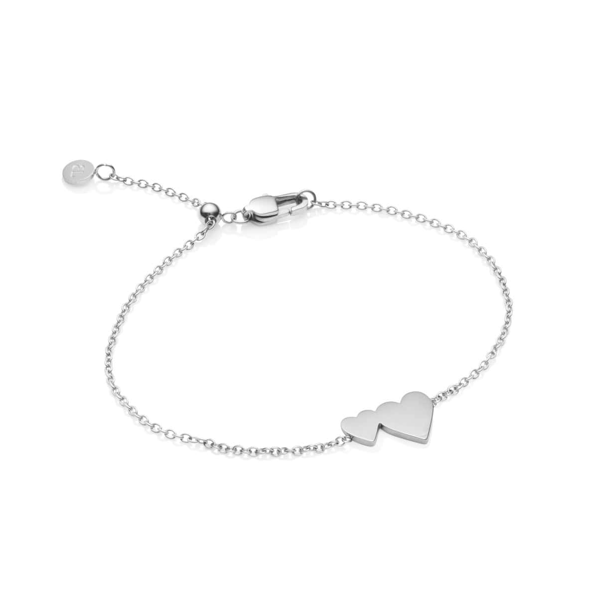 Little Luxe Double Heart Bracelet (Silver)