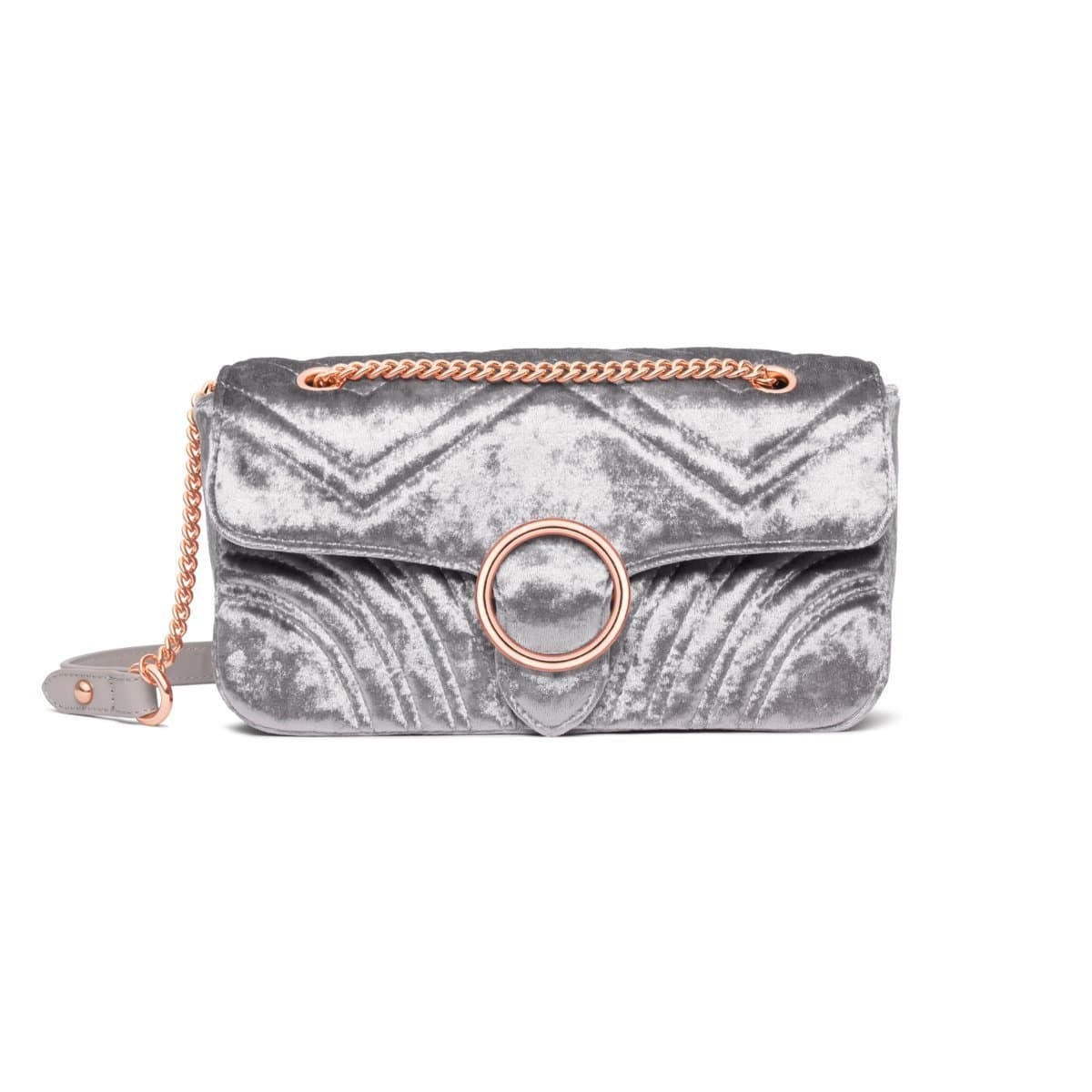 Gigi Velvet Shoulder Bag (Steel Blue/Rose Gold)
