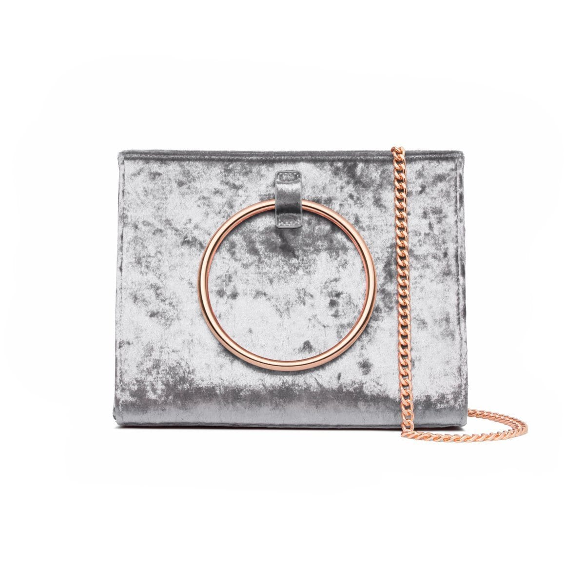 Moda Velvet Top Handle Bag (Steel Blue/Rose Gold)