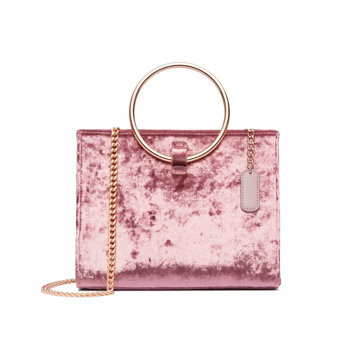 Moda Velvet Top Handle Bag (Dusky Rose/Rose Gold)