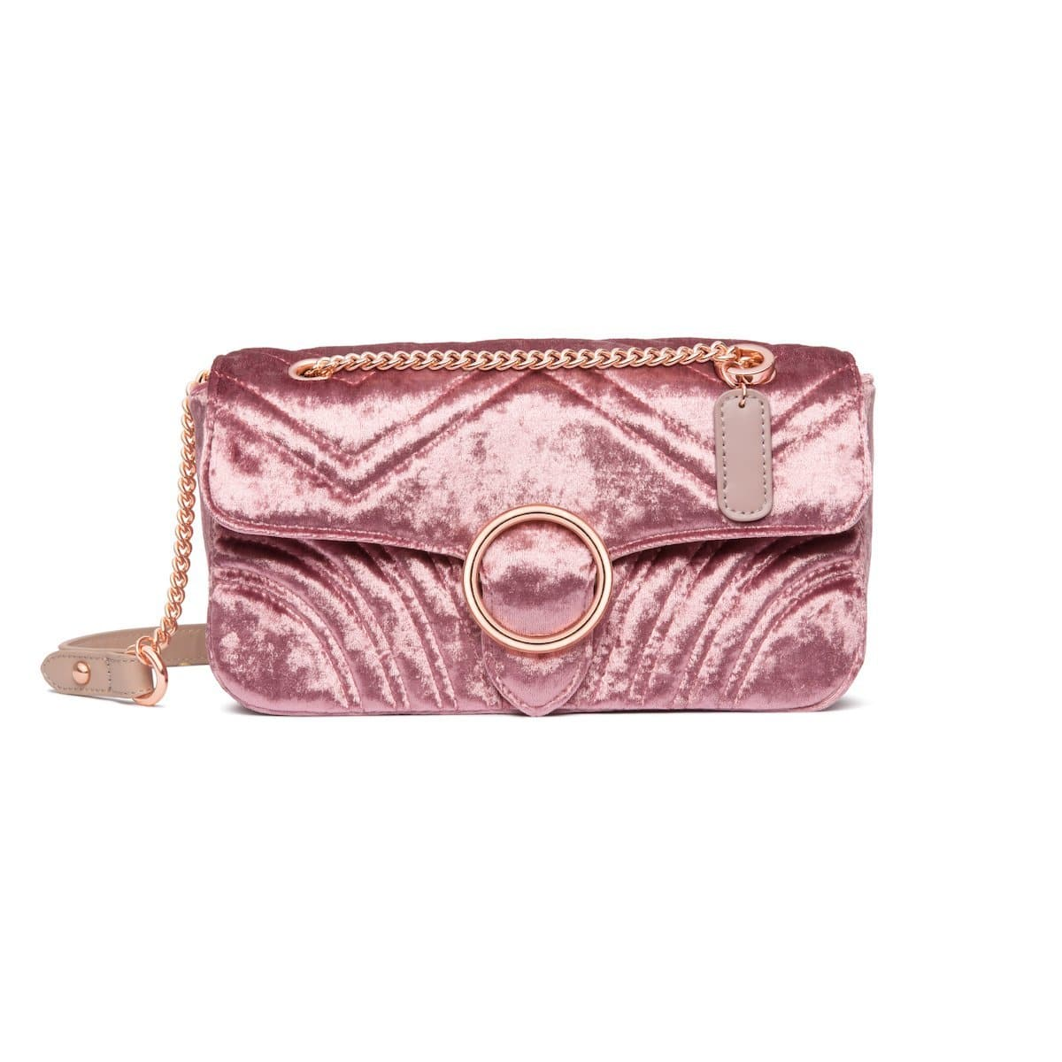 Gigi Velvet Shoulder Bag (Dusky Rose/Rose Gold)