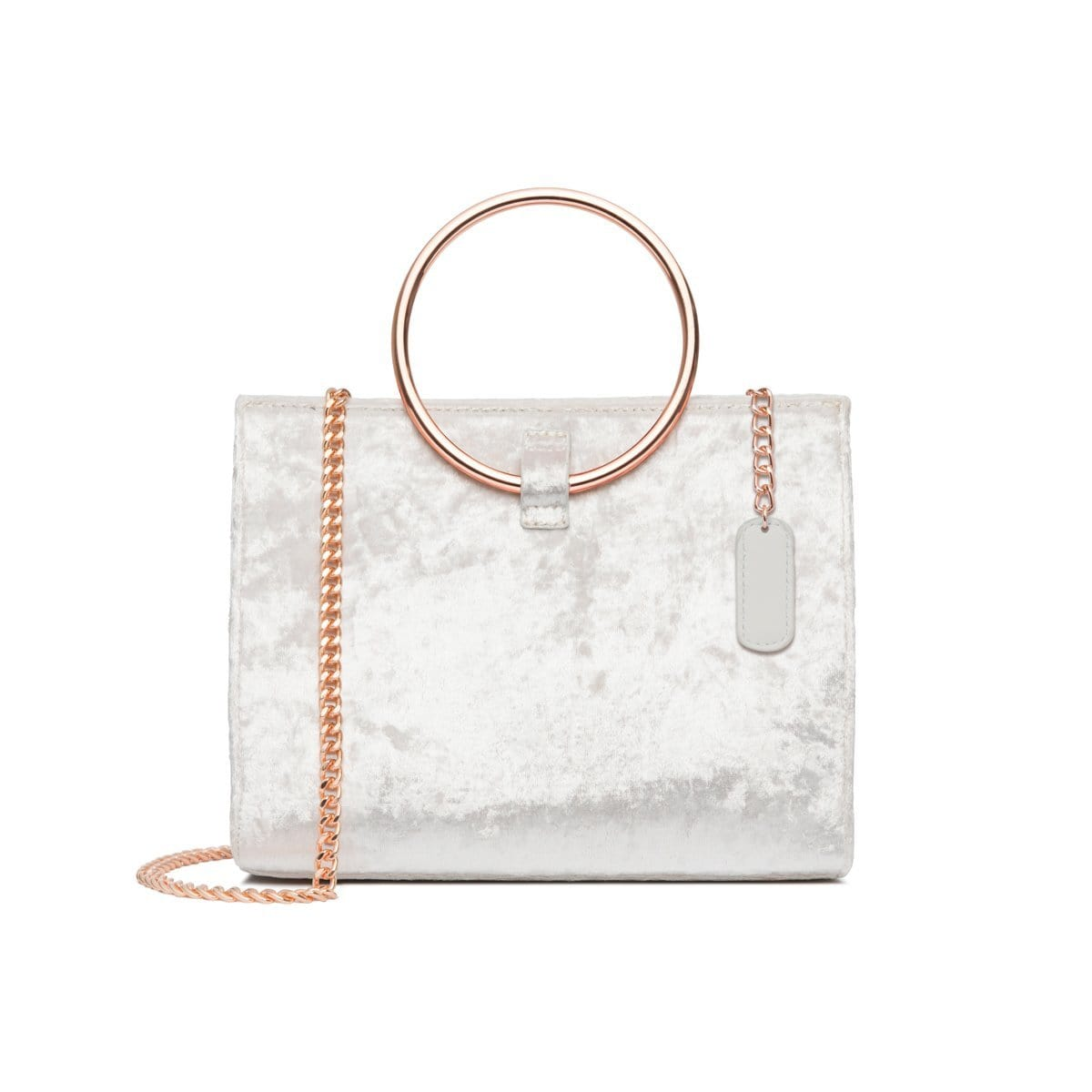 Moda Velvet Top Handle Bag (Snow White/Rose Gold)