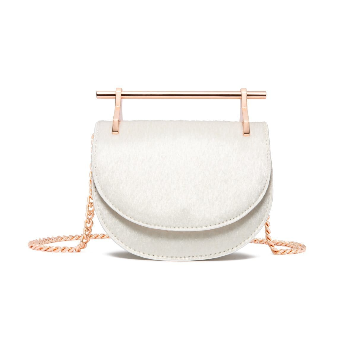 Ava Half Moon Clutch Bag (Snow White/Rose Gold)