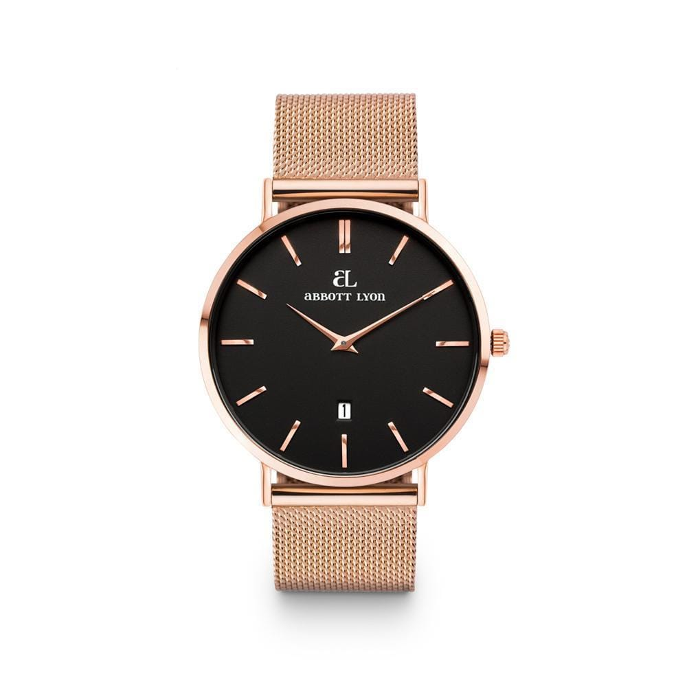 Rose Gold Chain Black Kensington 40