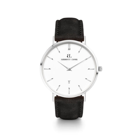 Men's Black Leather Kensington 40 (Silver/White)