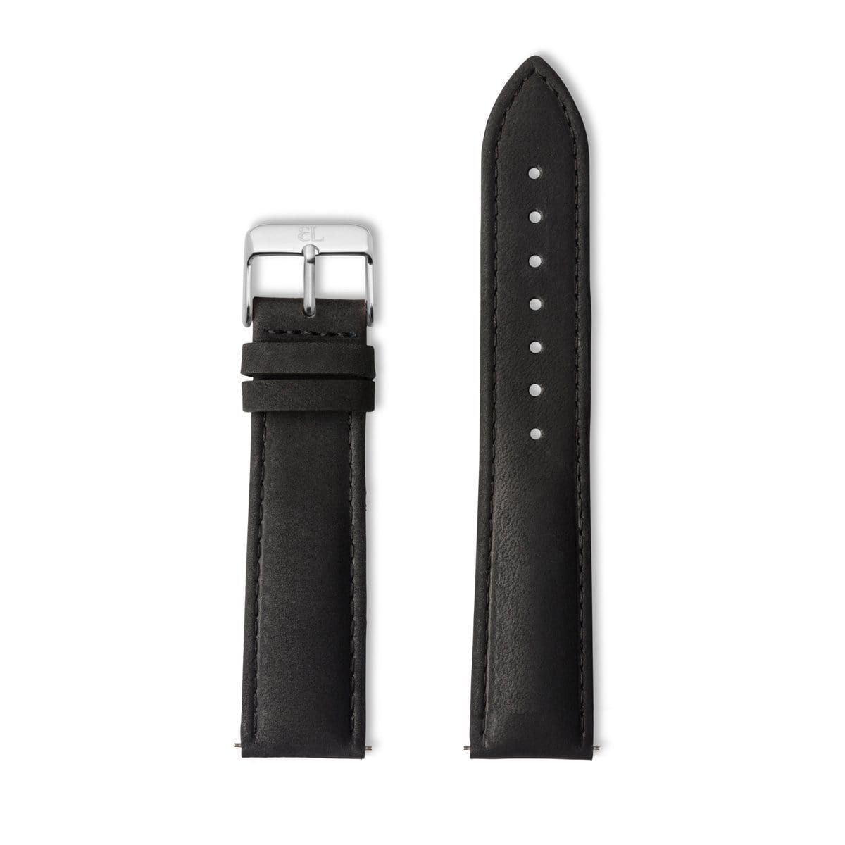 Black Leather 40 Strap Silver