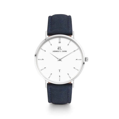 Navy Leather Kensington 40 (Silver/White)