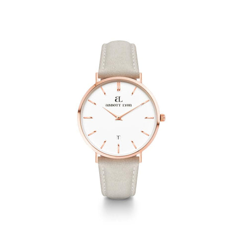Mist Grey Leather Rose Gold Kensington 34 (Rose/White)