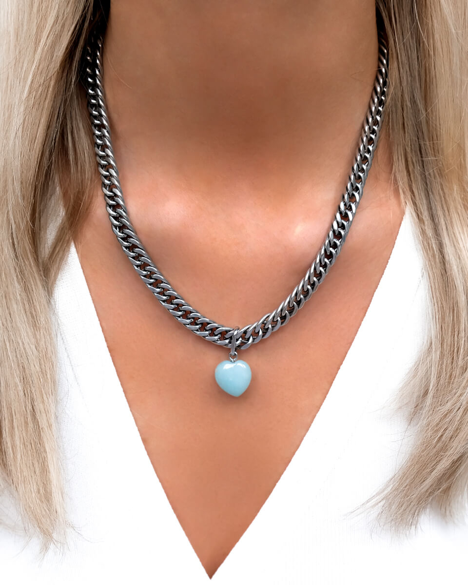 Birthstone Curb Chain Necklace (Silver)