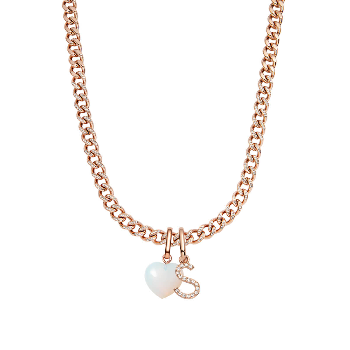Birthstone & Letter Crystal Curb Chain Necklace (Rose Gold)