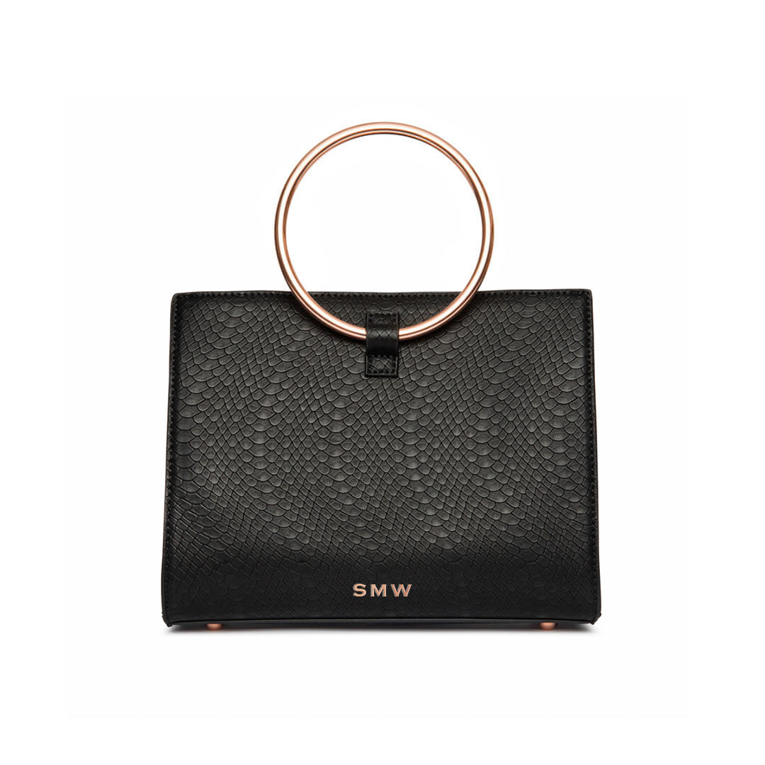 Jet Black Moda Handbag Rose Gold