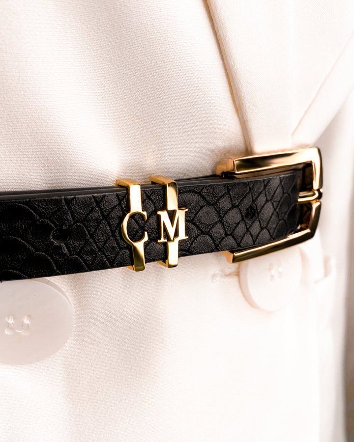 Jet Black Letter Belt S/M (Gold)