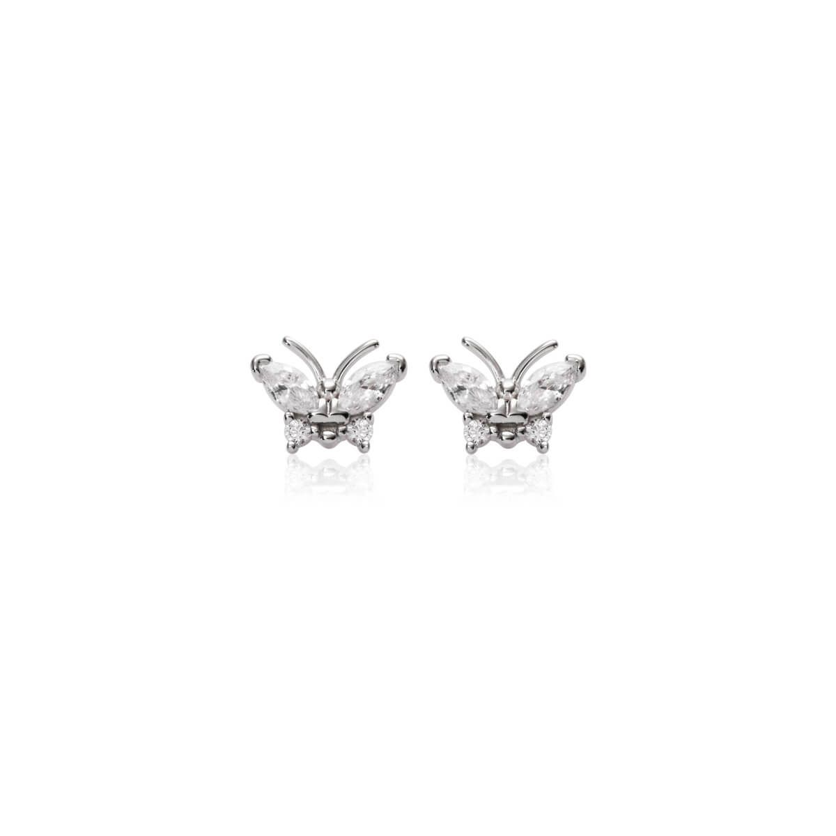 Sterling Silver Crystal Butterfly Stud Earrings (Silver)