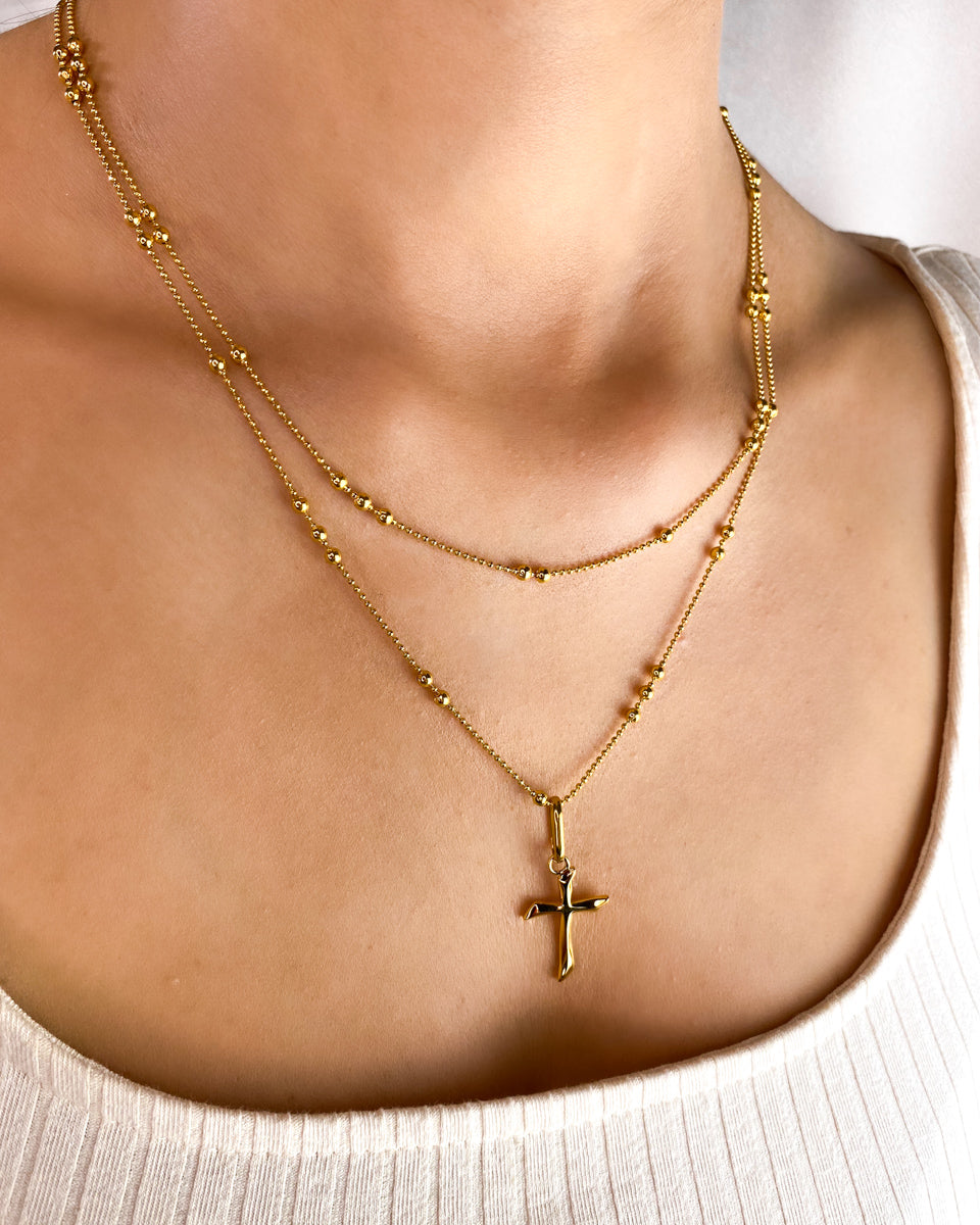 Cross Double Sphere Chain Necklace (Gold)