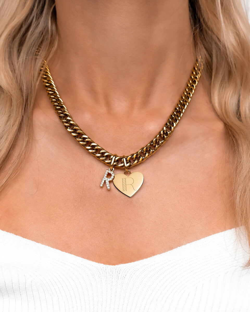 Crystal Letter & Heart Curb Chain Necklace (Gold)