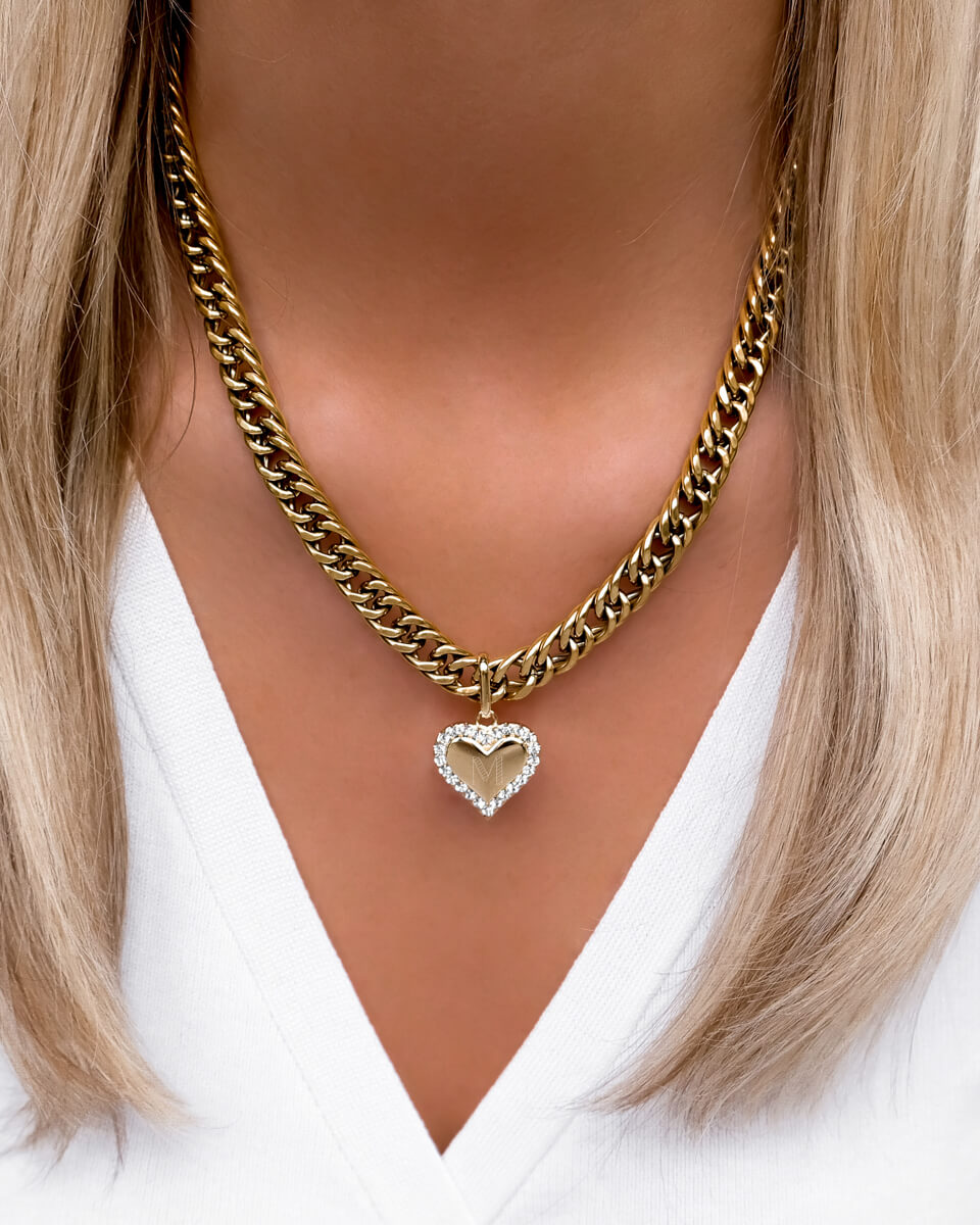 Crystal Heart Curb Chain Necklace (Gold)