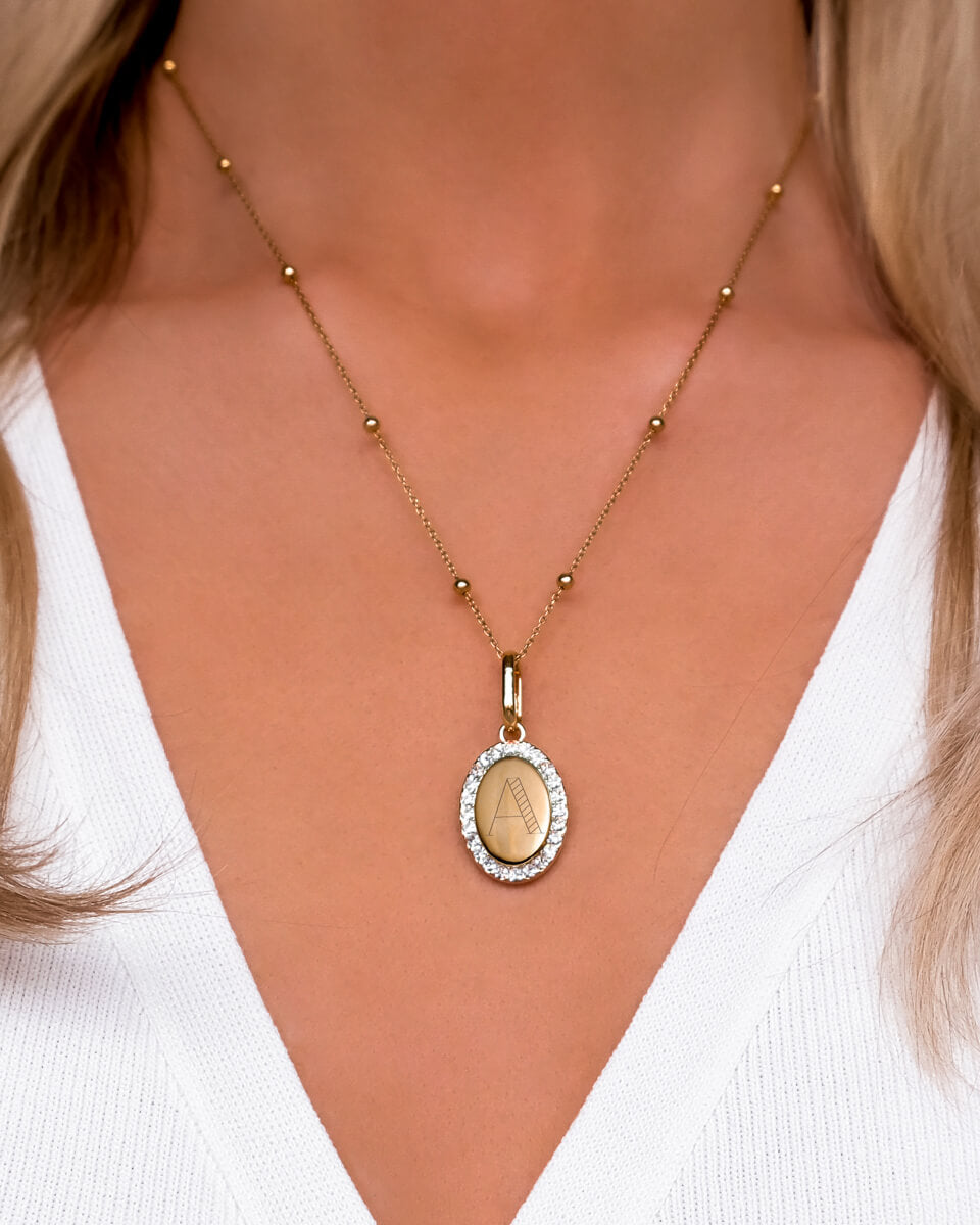 Crystal Oval Sphere Chain Necklace (Gold)