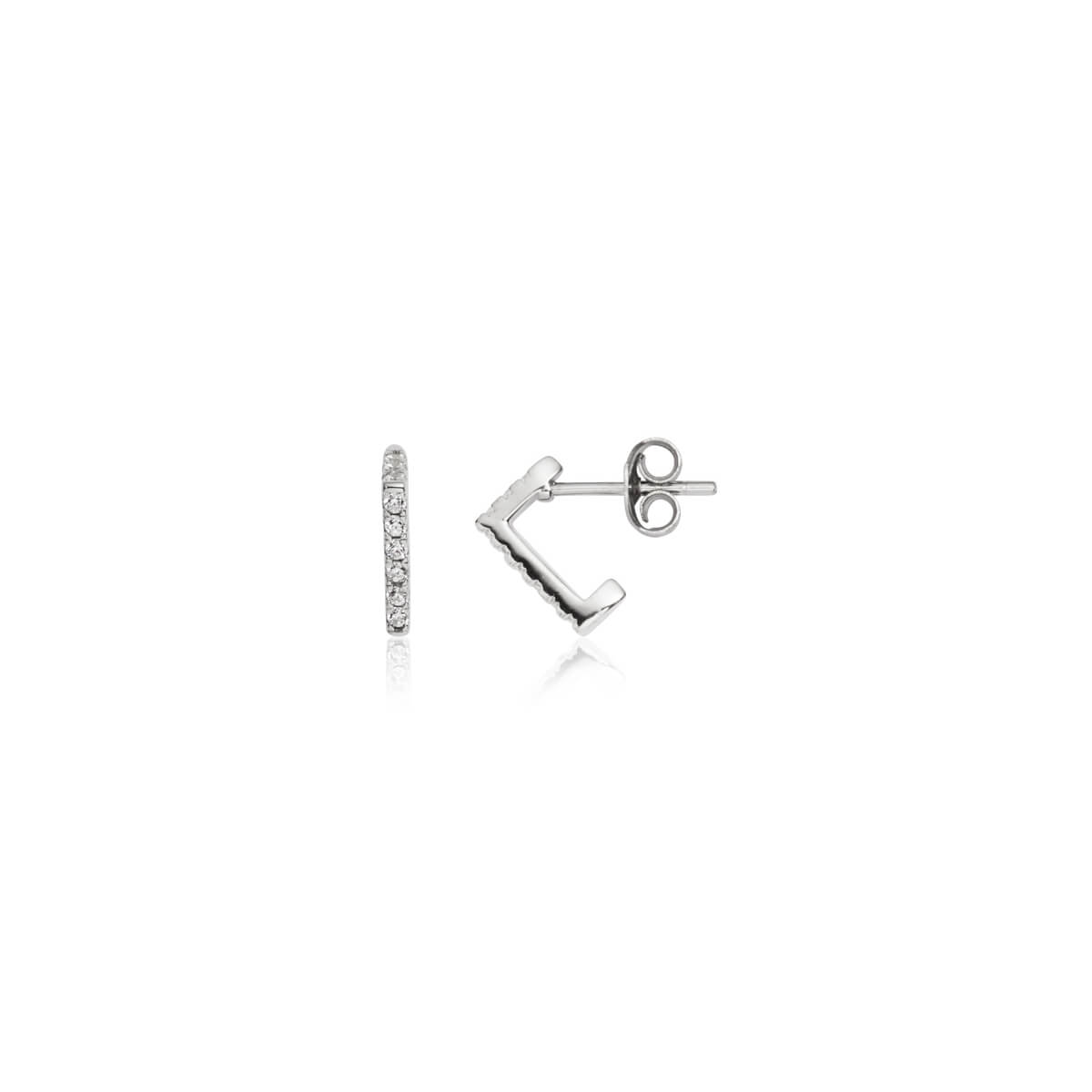 Sterling Silver Crystal Prism Earrings (Silver)