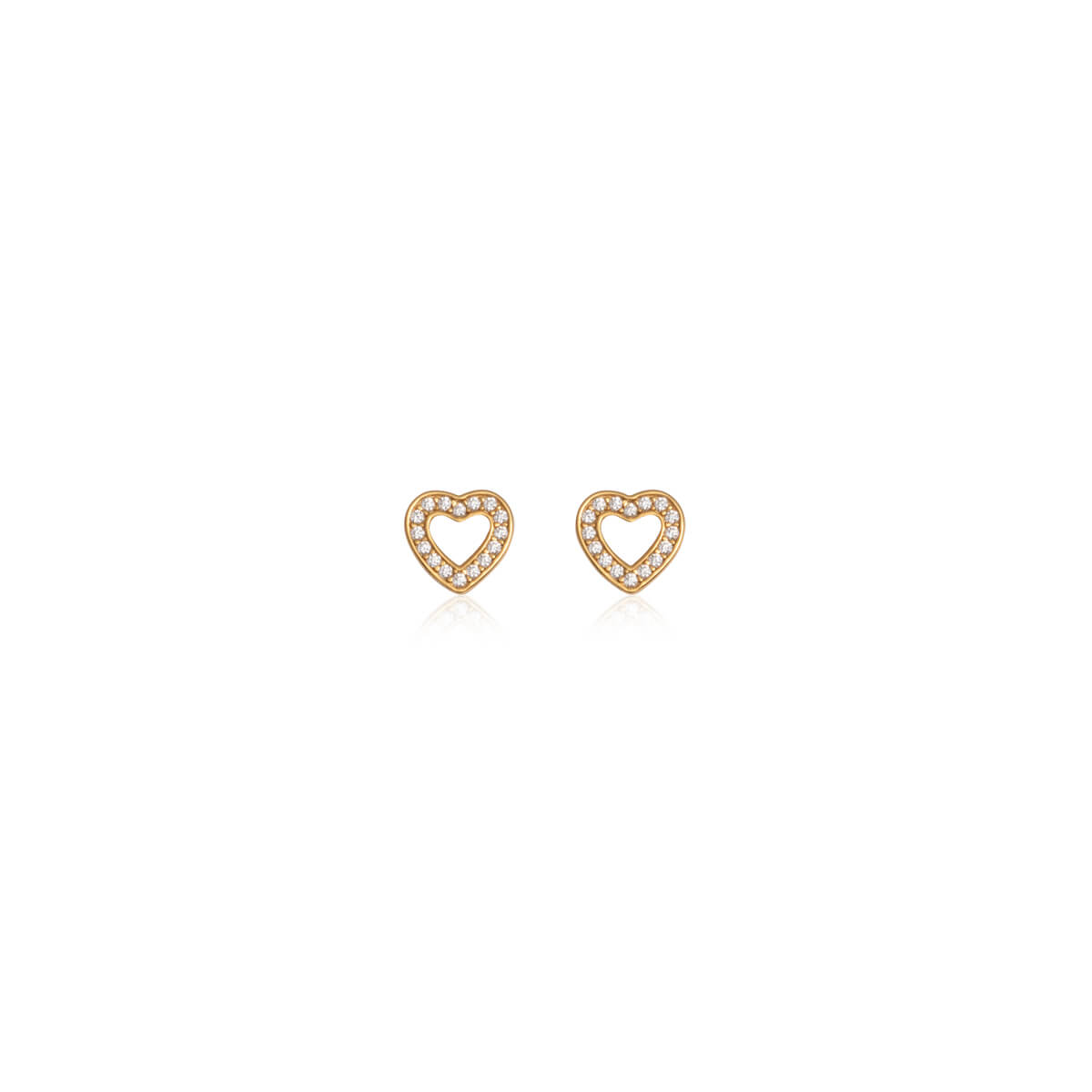 Sterling Silver Crystal Heart Stud Earrings (Gold)