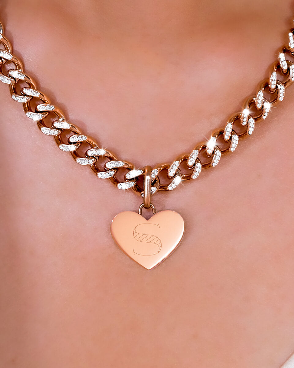 Heart Crystal Curb Chain Necklace (Rose Gold)