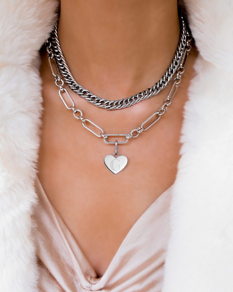 Curb Chain & Heart Figaro Love Gift Set (Silver)
