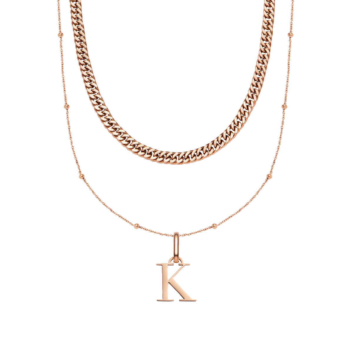 Curb Chain & Letter Sphere Chain Layered Set (Rose Gold)