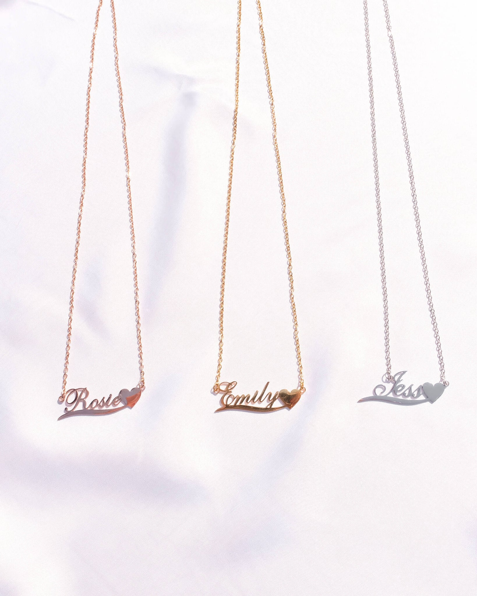 Love Heart Name Necklace (Rose Gold)
