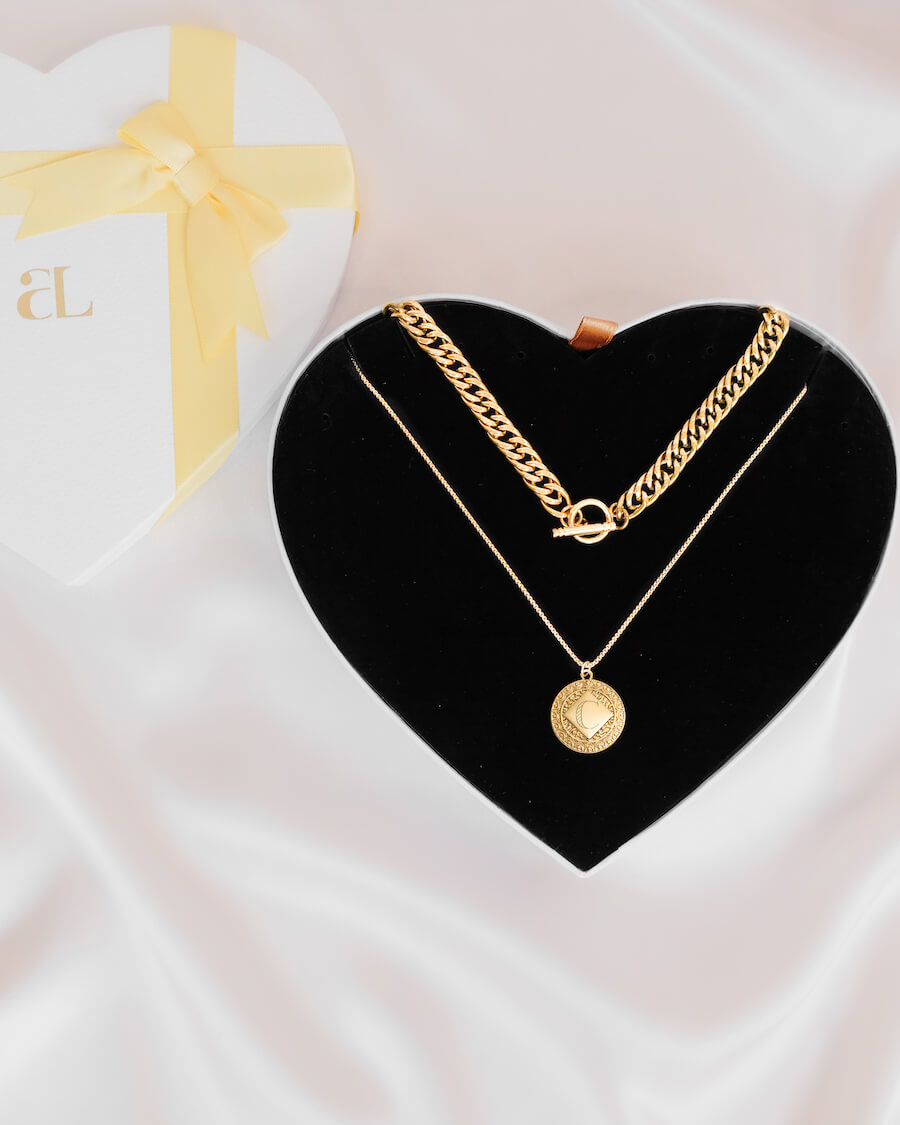Maya Pendant Curb Chain Love Gift Set (Gold)