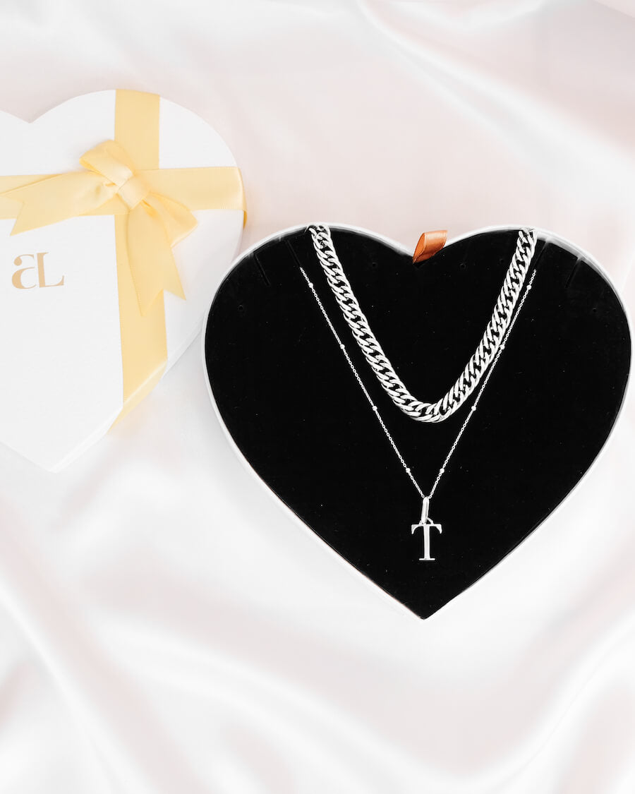 Curb Chain & Letter Sphere Chain Love Gift Set (Silver)