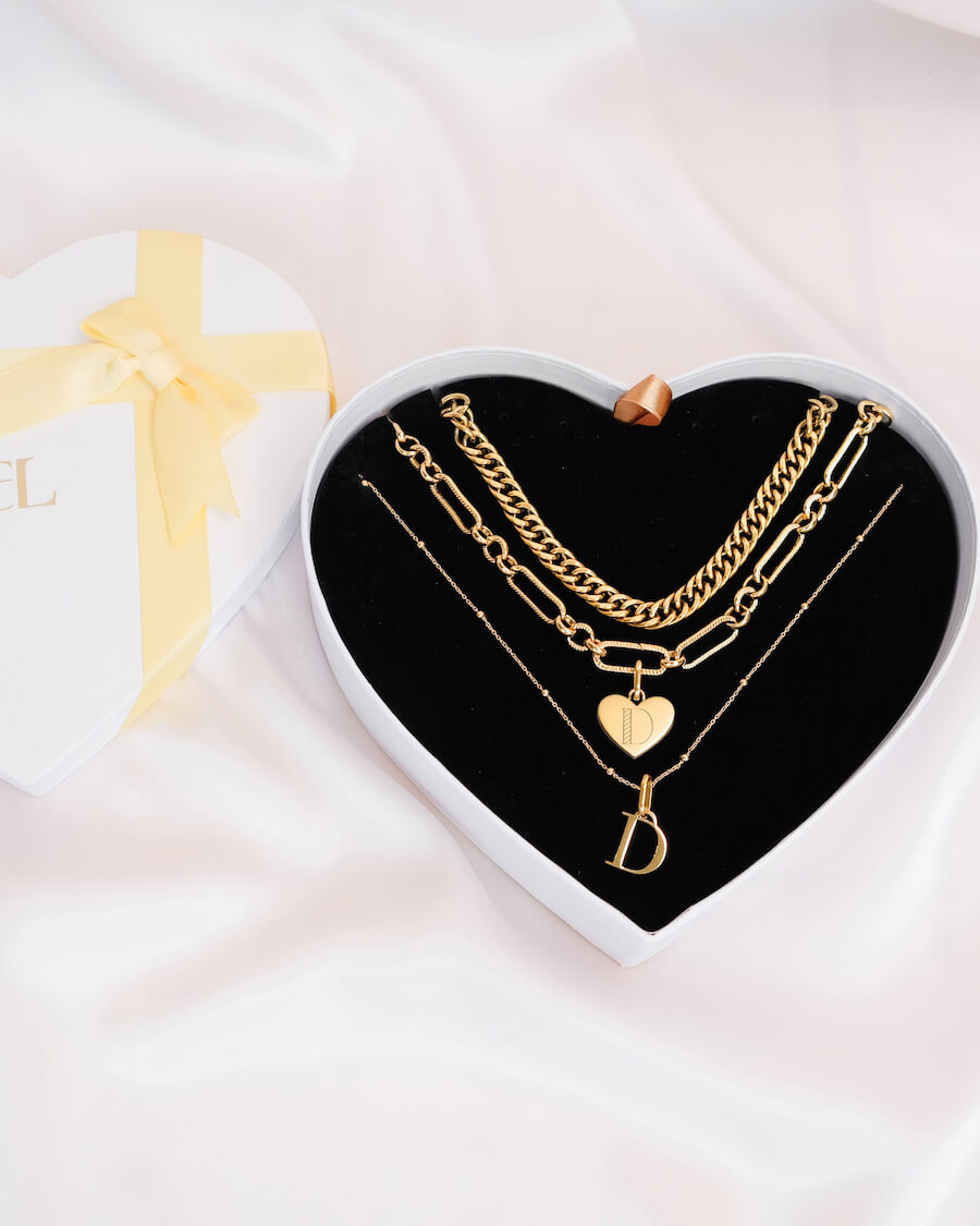 Heart & Letter Pendant Multi Chain Love Gift Set (Gold)